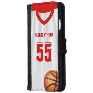 Nombre rojo del vestido del baloncesto funda cartera para iPhone 6