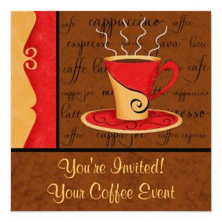 Nombre rojo marrón del personalizado del arte del invitación 13,3 cm x 13,3cm