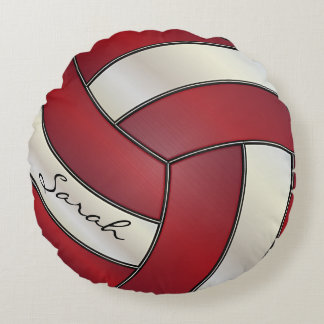 Nombre rojo oscuro y blanco del voleibol el | DIY Cojín Redondo