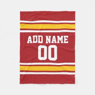 Nombre rojo y amarillo del personalizado del manta de forro polar