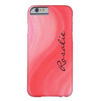 Nombre rosado anaranjado rojo del monograma del funda para iPhone 6 barely there