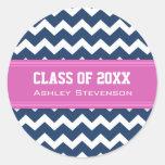 Nombre rosado azul del personalizado de la graduac etiquetas