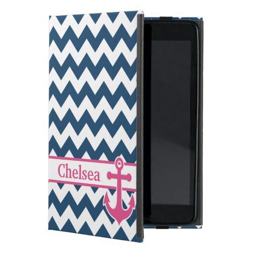 Nombre rosado blanco azul del ancla de Chevron iPad Mini Carcasa