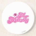 Nombre rosado chispeante de Sr. Messy el | Posavasos Personalizados