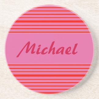 nombre rosado de las rayas posavaso para bebida