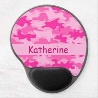 Nombre rosado del camuflaje de Camo personalizado Alfombrillas De Ratón Con Gel