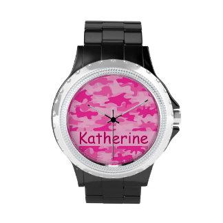 Nombre rosado del camuflaje de Camo personalizado Relojes De Mano
