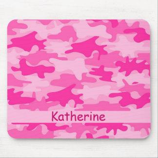 Nombre rosado del camuflaje de Camo personalizado Tapete De Ratones