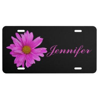 Nombre rosado del personalizable de la flor de la  placa de matrícula