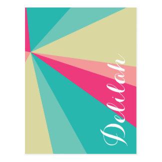 Nombre rosado del personalizado de la aguamarina tarjeta postal