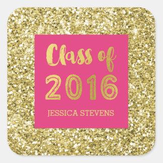 Nombre rosado del personalizado de la graduación pegatina cuadrada