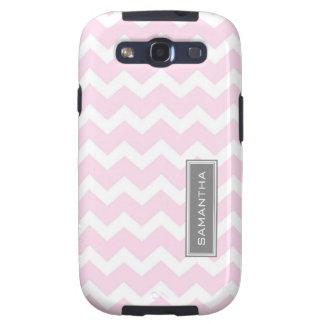 Nombre rosado del personalizado de Samsung Chevron Galaxy S3 Funda