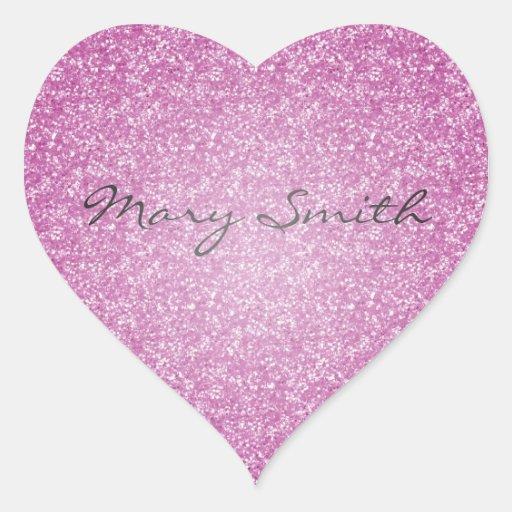 Nombre rosado del personalizado del brillo pegatina de corazón