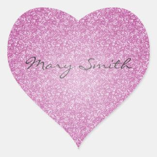 Nombre rosado del personalizado del brillo pegatina en forma de corazón