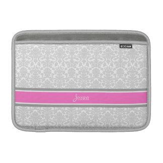 Nombre rosado del personalizado del damasco de Mac Fundas MacBook