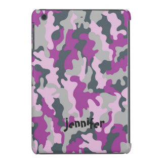 Nombre rosado femenino fresco del camuflaje de fundas de iPad mini