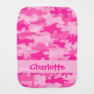 Nombre rosado fucsia del camuflaje de Camo persona Paños Para Bebé