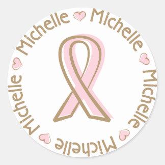 Nombre rosado Michelle del cáncer de pecho de la Pegatina Redonda