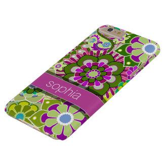 Nombre rosado y verde del ejemplo floral colorido funda de iPhone 6 plus barely there