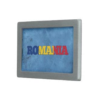 Nombre rumano y bandera en la pared fresca hebillas de cinturon rectangulares