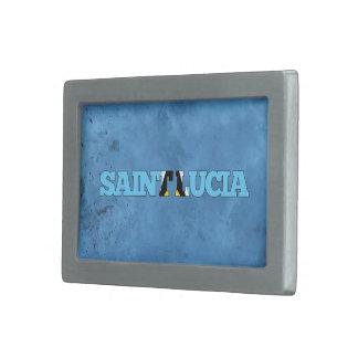 Nombre santalucense y bandera en la pared fresca hebilla de cinturón rectangular