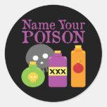 Nombre su veneno etiquetas redondas