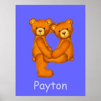 Nombre ~Teddy inicial de Letter~Custom del alfabet Impresiones