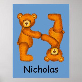 Nombre ~Teddy inicial de Letter~Custom del alfabet Poster