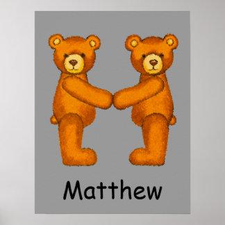 Nombre ~Teddy inicial de Letter~Custom del alfabet Posters