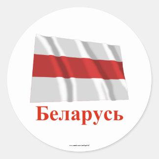 Nombre tradicional de la bandera de Bielorrusia Pegatina Redonda
