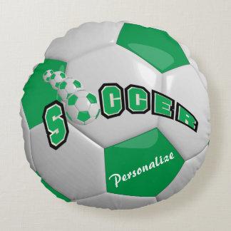 Nombre verde del balón de fútbol el   DIY Cojín Redondo