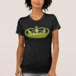 Nombre verde del personalizado de la corona de la camisetas