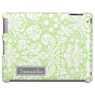 nombre verde del personalizado del damasco del iPa Funda Para iPad
