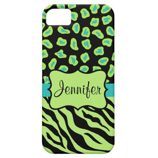 Nombre verde negro de la piel del leopardo de la iPhone 5 carcasa