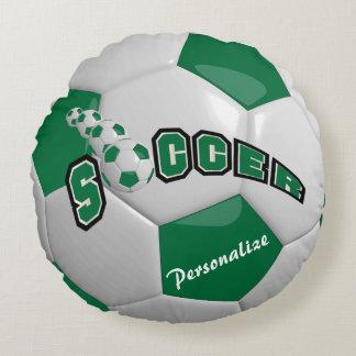 Nombre verde oscuro del balón de fútbol el   DIY Cojín Redondo
