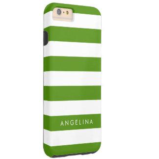 Nombre verde y blanco de Kelly del modelo rayado Funda De iPhone 6 Plus Tough