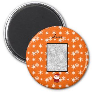 Nombre y añada su propio copo de nieve del naranja imán para frigorifico