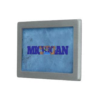 Nombre y bandera de Michigan en la pared fresca Hebilla Cinturón Rectangular