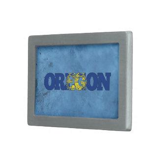 Nombre y bandera de Oreganian en la pared fresca Hebillas De Cinturón Rectangulares