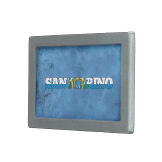 Nombre y bandera de Sammarinese en la pared fresca Hebilla Cinturón Rectangular