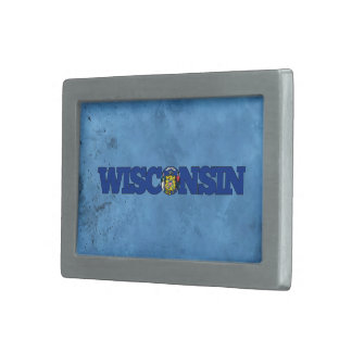 Nombre y bandera de Wisconsinite en la pared Hebillas Cinturon Rectangulares