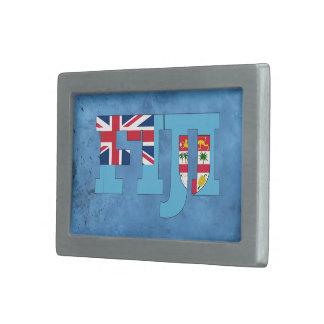 Nombre y bandera del Fijian en la pared fresca Hebilla De Cinturón Rectangular