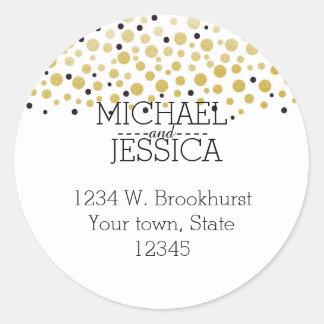 Nombre y dirección personalizado confeti del oro pegatina redonda