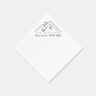 Nombre y fecha de encargo geométricos de la servilletas de papel