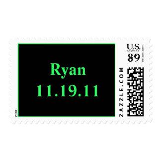 Nombre y fecha sello postal