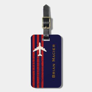 nombre y inicial adaptables del aeroplano del viaj etiqueta de maleta