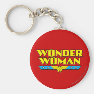 Nombre y logotipo de la Mujer Maravilla Llavero Redondo Tipo Pin