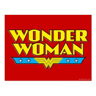 Nombre y logotipo de la Mujer Maravilla Postal