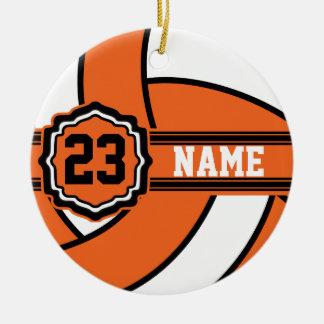 Nombre y número anaranjados del voleibol el | DIY Adorno Navideño Redondo De Cerámica