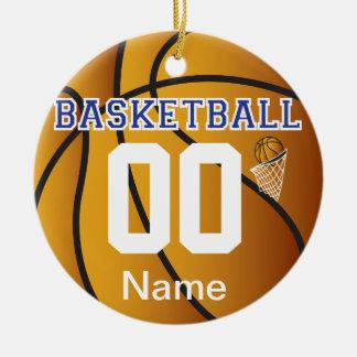 Nombre y número azul marino del baloncesto el | adorno navideño redondo de cerámica